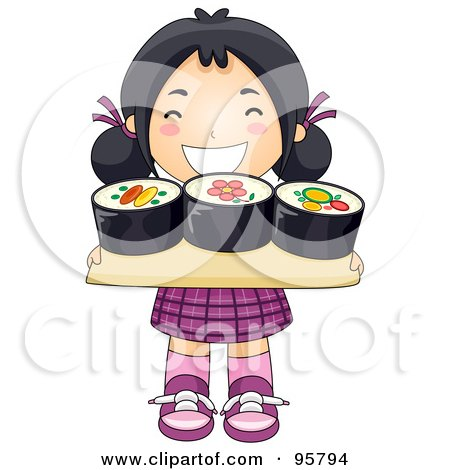 Royalty-Free (RF) Clipart Illustration of a Cute Little Asian Girl Carrying A Sushi Tray by BNP Design Studio