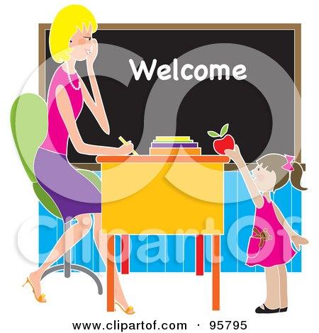 Cute Brunette School Girl Putting An Apple On A Beautiful Blond Teacher's Desk Posters, Art Prints