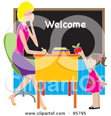 Royalty-Free (RF) Clipart Illustration of a Cute Brunette School Girl Putting An Apple On A Beautiful Blond Teacher's Desk by Maria Bell