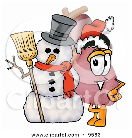 Clipart Picture of a Heart Organ Mascot Cartoon Character With a Snowman on Christmas by Toons4Biz