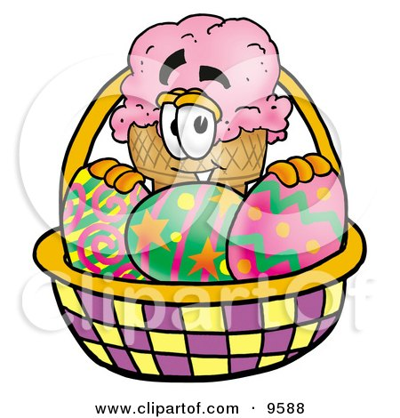 Clipart Picture of an Ice Cream Cone Mascot Cartoon Character in an Easter Basket Full of Decorated Easter Eggs by Toons4Biz