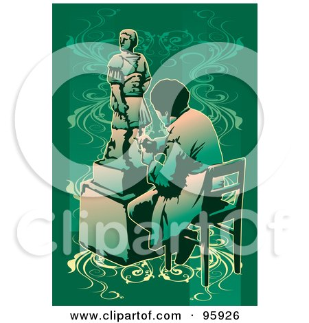 Royalty-Free (RF) Clipart Illustration of a Working Sculpture Artist - 2 by mayawizard101
