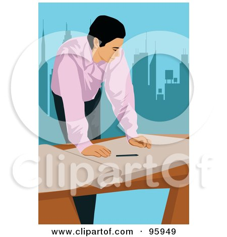 Royalty-Free (RF) Clipart Illustration of a Working Engineer - 1 by mayawizard101