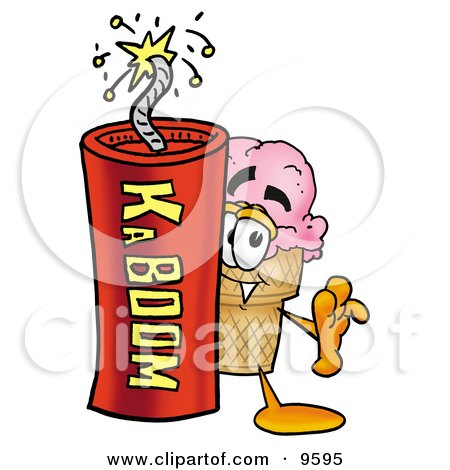 Clipart Picture of an Ice Cream Cone Mascot Cartoon Character Standing With a Lit Stick of Dynamite by Toons4Biz