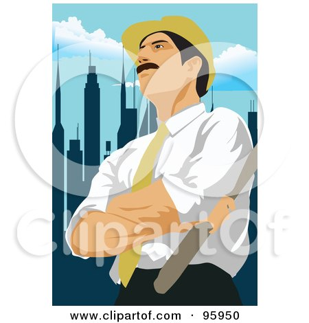 Royalty-Free (RF) Clipart Illustration of a Working Engineer - 4 by mayawizard101