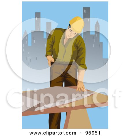 Royalty-Free (RF) Clipart Illustration of a Working Engineer - 2 by mayawizard101