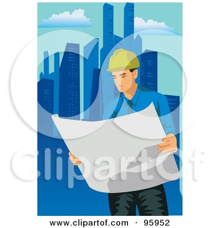 Royalty-Free (RF) Clipart Illustration of a Working Engineer - 3 by mayawizard101