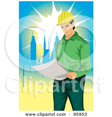 Royalty-Free (RF) Clipart Illustration of a Working Engineer - 5 by mayawizard101