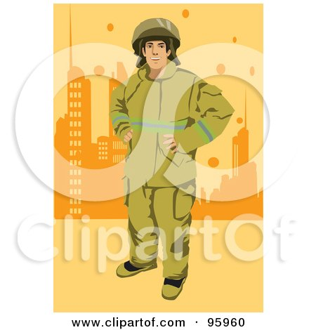 Royalty-Free (RF) Clipart Illustration of a City Fireman by mayawizard101