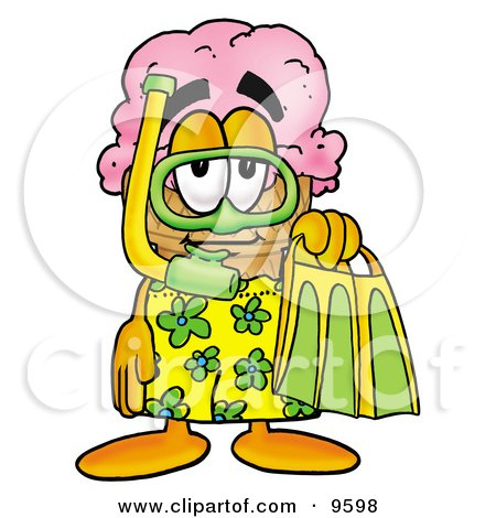 Ice Cream Cone Mascot Cartoon Character in Green and Yellow Snorkel Gear Posters, Art Prints
