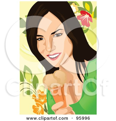 Royalty-Free (RF) Clipart Illustration of a Woman Enjoying An Ice Cream Cone - 1 by mayawizard101