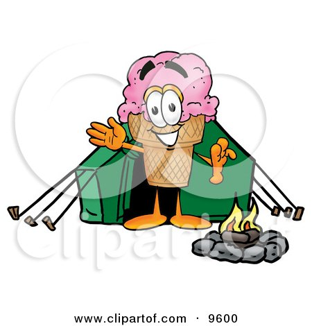 Ice Cream Cone Mascot Cartoon Character Camping With a Tent and Fire Posters, Art Prints