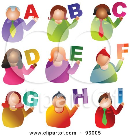 Royalty-Free (RF) Clipart Illustration of a Digital Collage Of Alphabet People From A Through I by Prawny