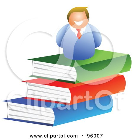 Royalty-Free (RF) Clipart Illustration of a Happy Man On Top Of A Book Pile by Prawny