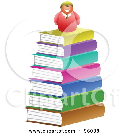 Royalty-Free (RF) Clipart Illustration of a Happy Man On Top Of A Big Book Pile by Prawny