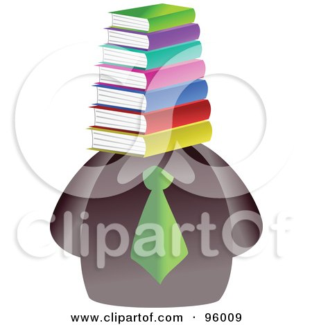 Royalty-Free (RF) Clipart Illustration of a Businessman With A Book Face by Prawny