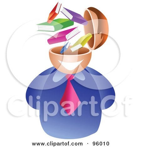 Royalty-Free (RF) Clipart Illustration of a Businessman With A Book Brain by Prawny