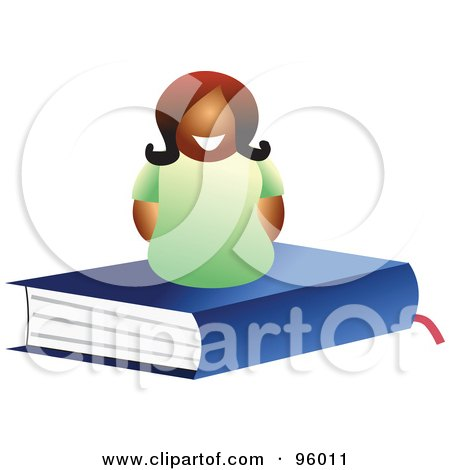 Royalty-Free (RF) Clipart Illustration of a Happy Woman On Top Of A Closed Blue Text Book by Prawny