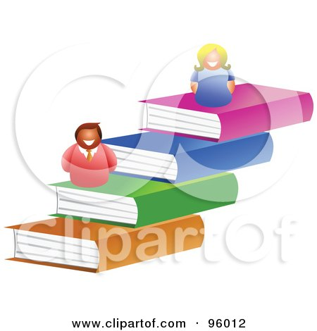 Royalty-Free (RF) Clipart Illustration of a Happy Man And Woman On Top Of Steps Of Books by Prawny