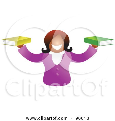 Royalty-Free (RF) Clipart Illustration of a Happy Woman Holding Out A Book In Each Hand by Prawny