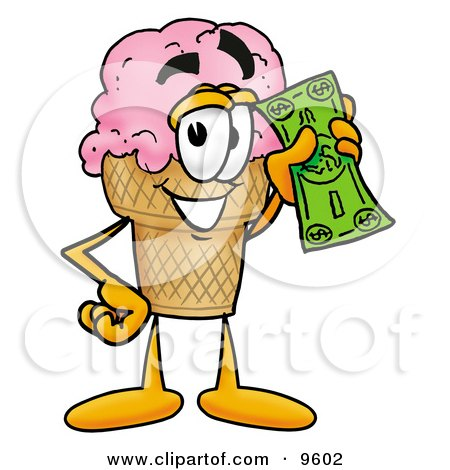 Ice Cream Cone Mascot Cartoon Character Holding a Dollar Bill Posters, Art Prints