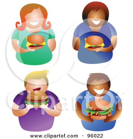 Royalty-Free (RF) Clipart Illustration of a Digital Collage Of Faceless Men And Women With Hamburgers by Prawny