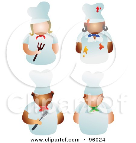 Royalty-Free (RF) Clipart Illustration of a Digital Collage Of Faceless Male And Female Chefs by Prawny