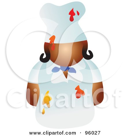 Royalty-Free (RF) Clipart Illustration of a Faceless Female Chef With Food Splattered On Her Uniform by Prawny
