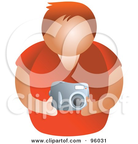 Royalty-Free (RF) Clipart Illustration of a Faceless Man Holding A Camera by Prawny