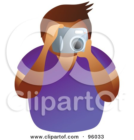 Royalty-Free (RF) Clipart Illustration of a Faceless Man Taking A Picture With A Camera by Prawny