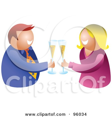 Royalty-Free (RF) Clipart Illustration of a Happy Man And Woman Making A Toast With Bubbly by Prawny