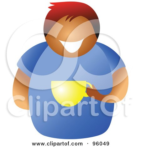 Royalty-Free (RF) Clipart Illustration of a Faceless Black Or Hispanic Man Holding A Coffee Cup by Prawny