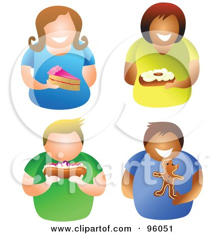 Royalty-Free (RF) Clipart Illustration of a Digital Collage Of Men And Women Holding Desserts by Prawny