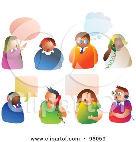 Royalty-Free (RF) Clipart Illustration of a Digital Collage Of People With Thoght And Word Balloons, Headsets And Telephones by Prawny