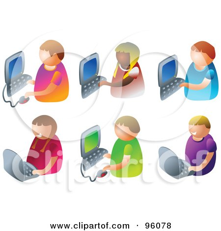 Royalty-Free (RF) Clipart Illustration of a Digital Collage Of Six Faceless Kids Using Computers by Prawny