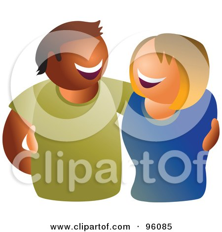 Royalty-Free (RF) Clipart Illustration of a Happy Hispanic Man And Caucasian Woman by Prawny