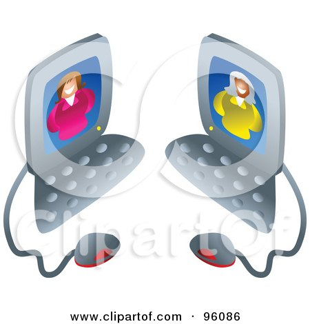Royalty-Free (RF) Clipart Illustration of Two Businesswomen Chatting On Computers by Prawny