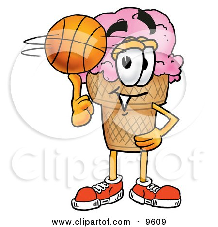 Clipart Picture of an Ice Cream Cone Mascot Cartoon Character Spinning a Basketball on His Finger by Toons4Biz