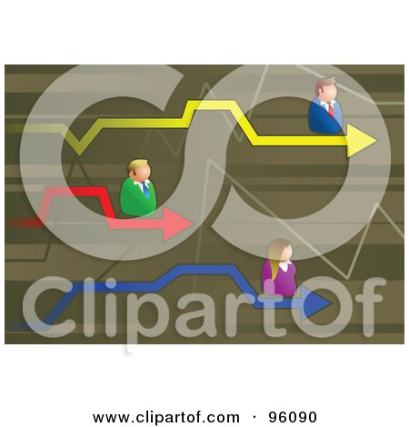 Royalty-Free (RF) Clipart Illustration of Competitive Business Men And Women On Colorful Arrows Of A Graph by Prawny