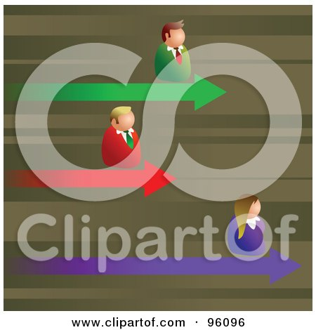 Royalty-Free (RF) Clipart Illustration of Competitive Business Men And Women On Different Arrows Of A Graph by Prawny