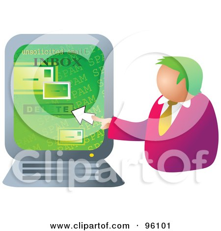 Royalty-Free (RF) Clipart Illustration of a Businessman Deleting Email On A Computer by Prawny