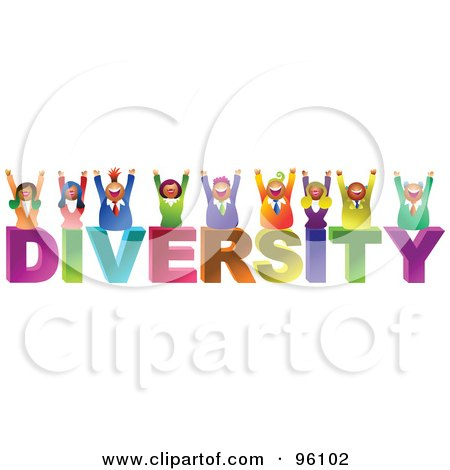 Royalty-Free (RF) Clipart Illustration of a Happy Business Team Over DIVERSITY by Prawny