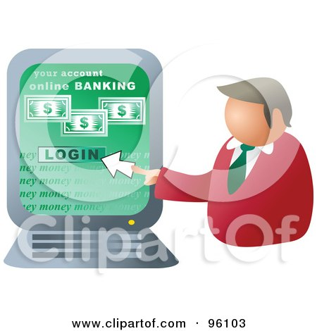 Royalty-Free (RF) Clipart Illustration of a Businessman Logging Into Online Banking by Prawny