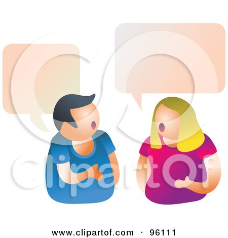 Royalty-Free (RF) Clipart Illustration of a Couple Having A Conversation Under Word Balloons by Prawny