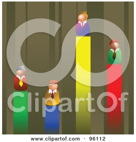 Royalty-Free (RF) Clipart Illustration of Competitive Businessmen On Different Lines Of A Vertical Bar Graph by Prawny