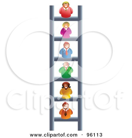 Royalty-Free (RF) Clipart Illustration of a Business People On Different Levels Of A Corporate Ladder by Prawny