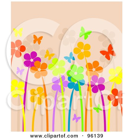 Royalty-Free (RF) Clipart Illustration of a Background Of Bright And Neon Flowers And Butterflies Over Beige by Pushkin