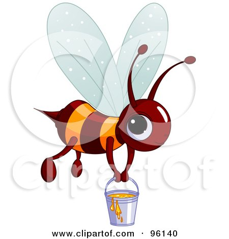 Royalty-Free (RF) Clipart Illustration of a Cute Brown And Orange Bee Carrying A Pail Of Honey by Pushkin
