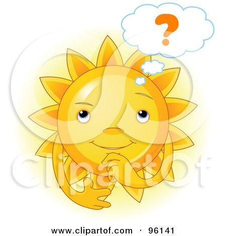 Royalty-Free (RF) Clipart Illustration of a Cute Sun Face Wondering by Pushkin