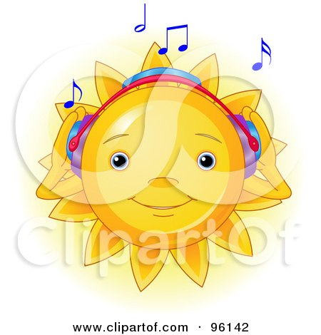 Royalty-Free (RF) Clipart Illustration of a Cute Sun Face Listening to Music by Pushkin